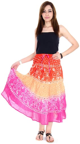 Rangsthali Cotton Bandhej Bandhini Womens Long Skirt
