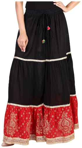 Rangsthali cottton Gold printed Tiered long Skirt for women Red & Black skirt ( free Size Skirts)