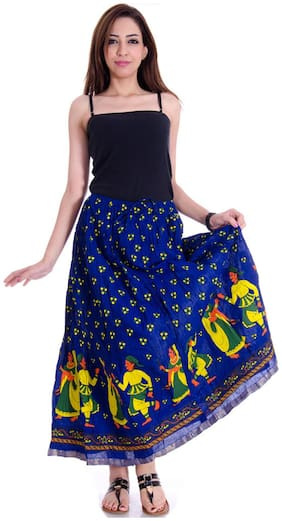Rangsthali Cotton Traditional Print Long Skirt
