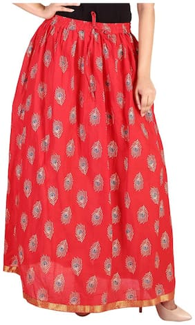 Rangsthali cottton Peacock Feather Gold printed straight long Skirt for women Red Skirt ( free Size Skirts)