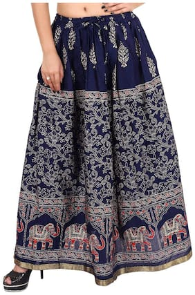 Rangsthali Cotton Gold Printed Straight long Skirt for womens