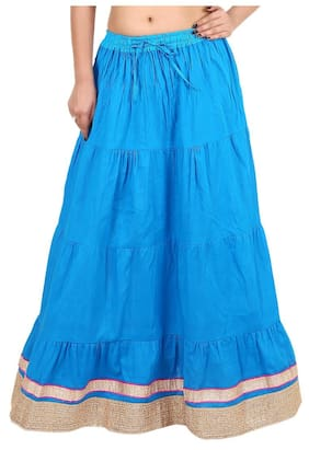 Rangsthali Cotton lace work Tier long Skirt for women