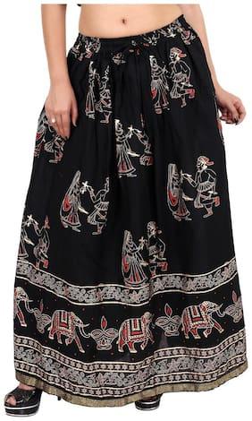 Rangsthali Printed A-line skirt Maxi Skirt - Black