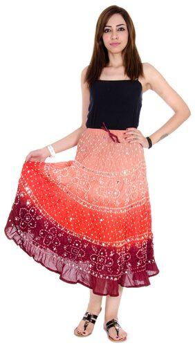Rangsthali Cotton Bandhej Bandhini Womens Long Skirt