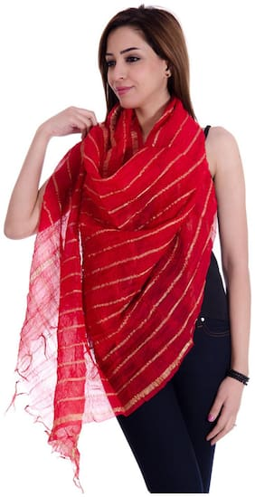 Rangsthali Red Chanderi Dupatta