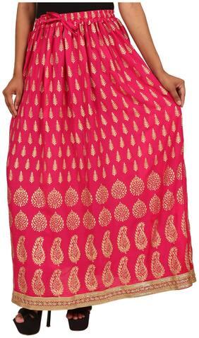 Rangsthali Printed Straight skirt Maxi Skirt - Pink