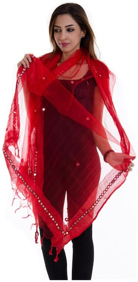Rangsthali Tissue Mirror Work Party Wear Dupatta Stole