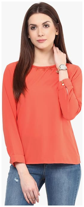 RARE Coral Orange Georgette Top with Embellished Detail