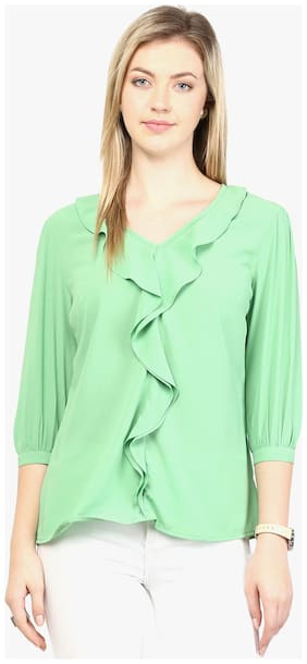 RARE Mint Green Top with Ruffled Detail