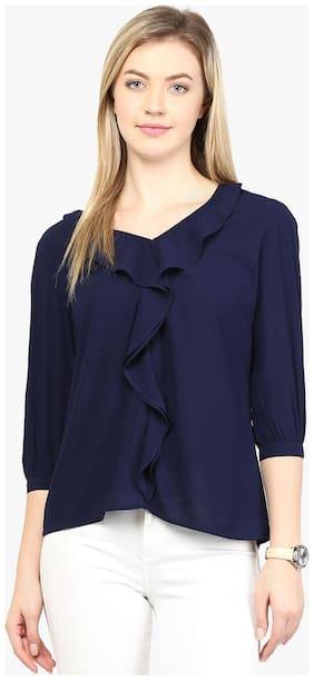Rare Women Georgette Solid - Regular top Blue