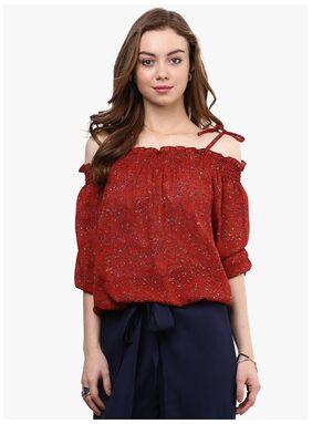 RARE Rust Red Printed Off,Shoulder Blouson Top