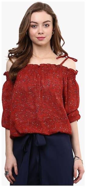 Rare Women Georgette Printed - Regular top Red