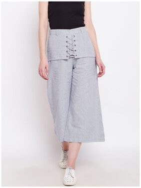RARE Women Blue & White Comfort Regular Fit Solid Culottes