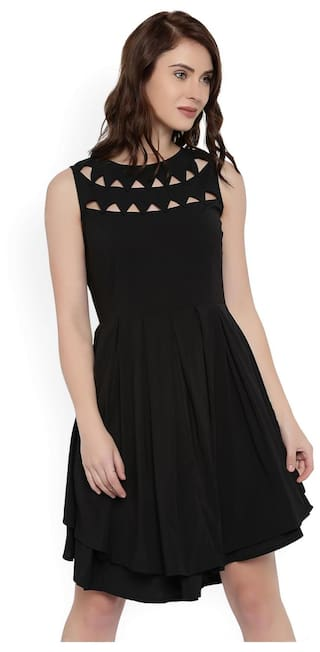 RARE Women Black Fit and Flare Dress
