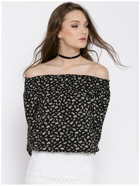 RARE Women Black Printed Bardot Top