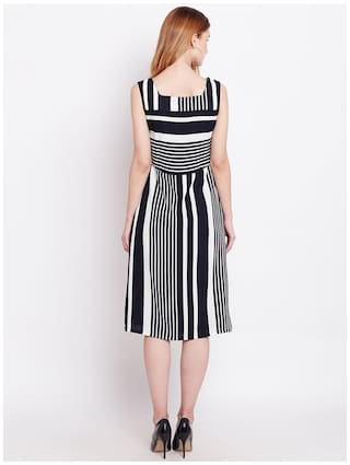 RARE Striped Line Black Dress A Women TrTH1