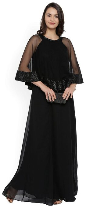 RARE Women Black Solid Maxi Dress