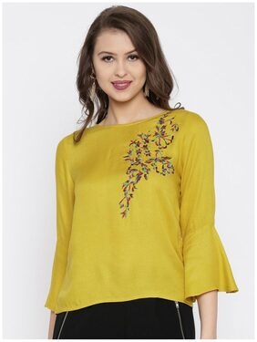 RARE Women Mustard Embroidered Top