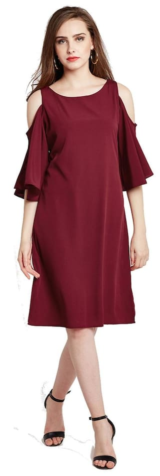 RARE Women Maroon Solid A-Line Dress