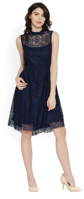RARE Women Navy Lace A-line Dress