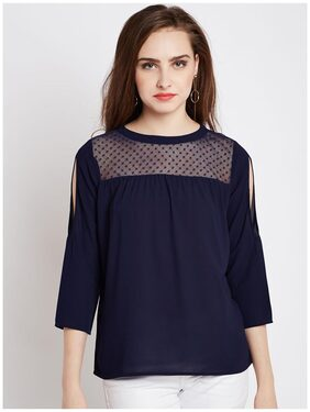 Rare Women Polyester Striped - Regular Top Blue
