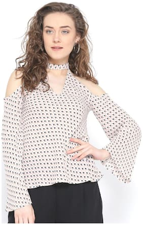 RARE Women Off-White Georgette Printed Cold Shoulder Top