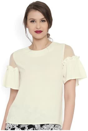 RARE Women Off-White Solid Cold Shoulder Top