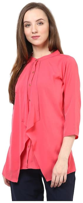 RARE Women Pink Solid Layered Top