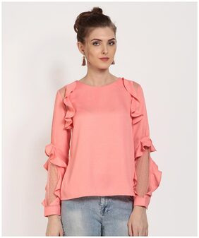 RARE Women Pink Ruffled Solid Top