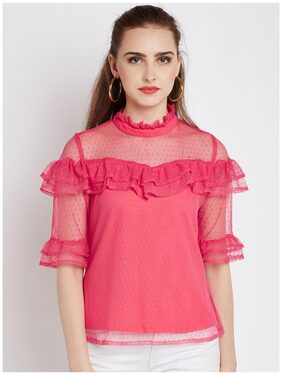 Rare Women Pink Solid Lace Top