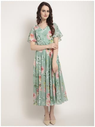 Rare Green Printed Fit & flare dress