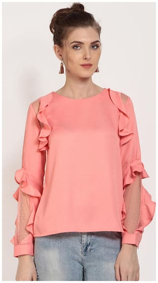 Rare Women Solid Regular top - Pink