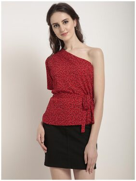 RARE Women Red Printed Cinched Waist Top