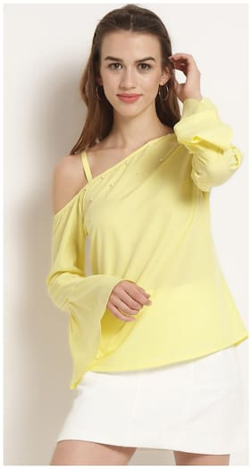 RARE Women Yellow Solid Top