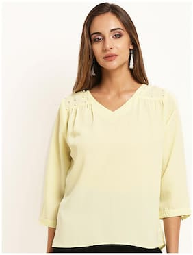 Rare Women Polyester Solid - Regular top Yellow