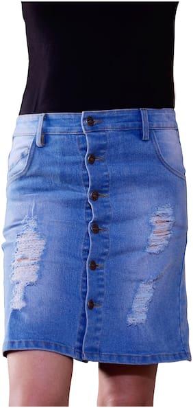 RAWG AND MV Solid Pencil skirt Mini Skirt - Blue