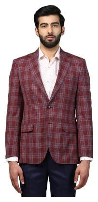 Raymond Medium Maroon Contemporary Fit Wool Blend Blazer
