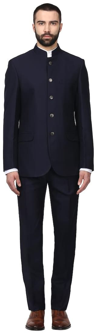 Raymond Men Solid Regular Fit Single Breasted Suit Blue