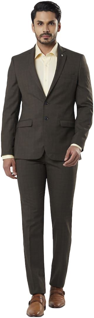 Raymond Men Viscose  Single Breasted Suit Brown