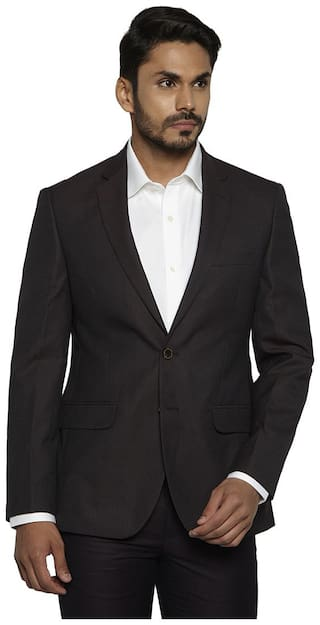 Raymond Men Brown Solid Slim fit Single Breasted Blazer