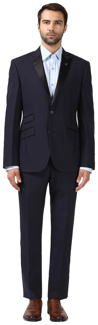 Raymond Men Solid Slim Fit Single Breasted Suit Blue