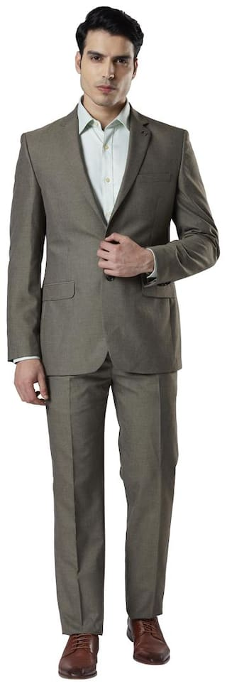 Raymond Men Polyester Single Breasted Suit Grey color