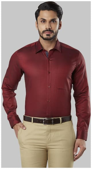 Raymond Men Regular fit Formal Shirt - Maroon