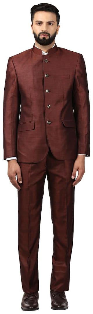 Raymond Polyester Blend Maroon Regualr Fit Suits