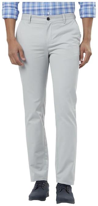 Raymond Men Solid Slim Fit Formal Trouser - Grey