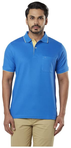 Raymond Men Regular fit Polo neck Solid T-Shirt - Blue