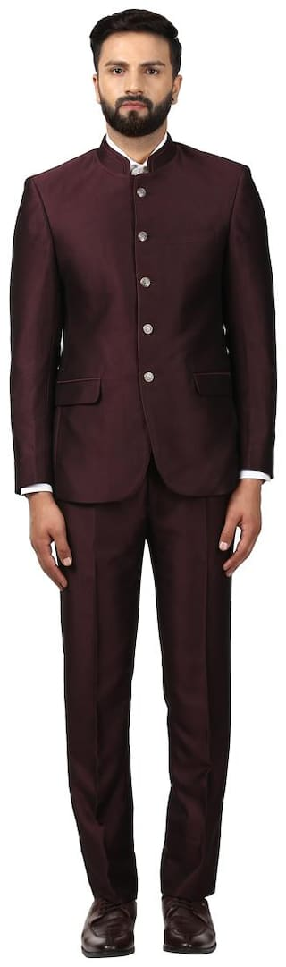 Raymond Solid Rayon Maroon Regular Fit Mandarin Collar Full Sleeve Suit