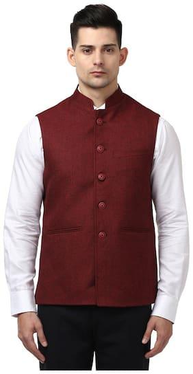 Raymond Solid Maroon Polyester Blend Regular Fit Mandarin Collar Sleeveless WaistCoat