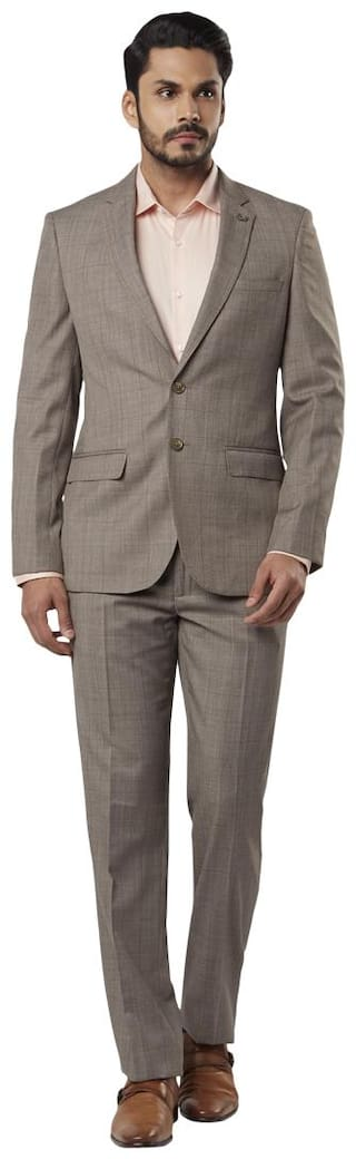 Raymond Solid Regular Fit Beige Notch Collar Full Sleeve Suits