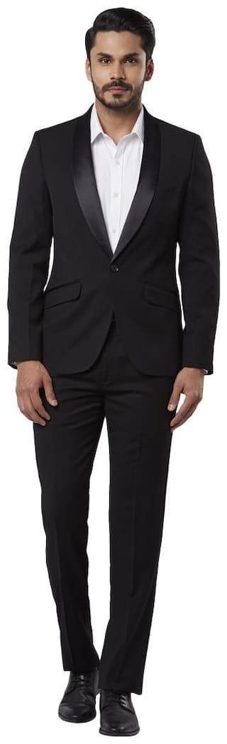 Raymond Solid Regular Fit Black Full Sleeve Suits